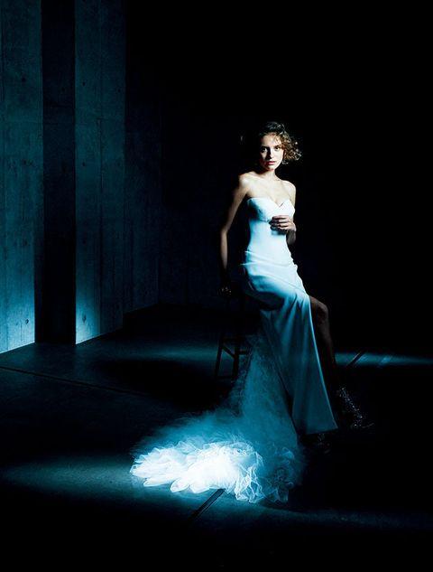 Clothing, Blue, Dress, Shoulder, Gown, Formal wear, Wedding dress, Darkness, Fashion model, Bridal clothing,