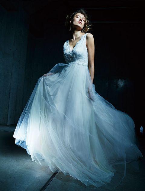 Gown, Dress, Fashion model, Clothing, Wedding dress, Photograph, Bridal party dress, Shoulder, Bridal clothing, Blue,
