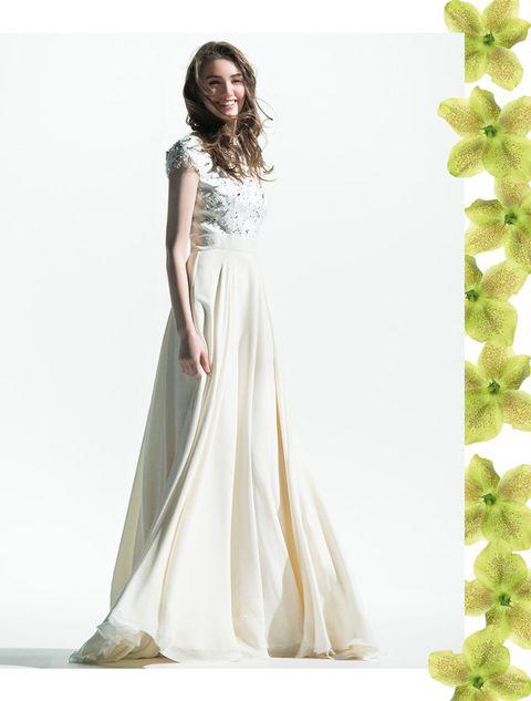 Gown, Clothing, Dress, Bridal party dress, Wedding dress, Shoulder, A-line, Fashion model, Green, Bridal clothing,