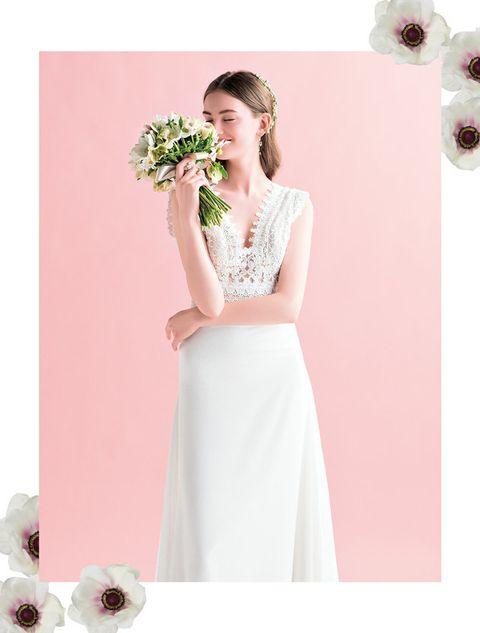 Dress, Clothing, White, Gown, Shoulder, Pink, A-line, Bridal party dress, Wedding dress, Neck,