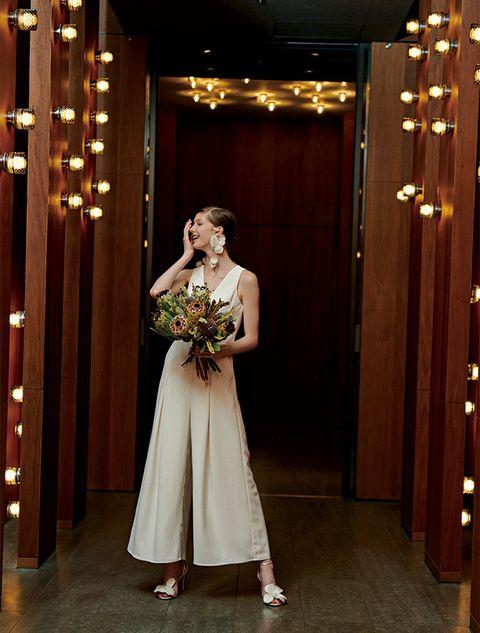 Dress, Bride, Formal wear, Ceremony, Wedding, Gown, Wedding dress, Event, Aisle, Bridal clothing,