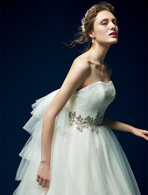 Gown, Dress, Wedding dress, Fashion model, Clothing, Hair, Shoulder, Bridal clothing, Bridal accessory, Bridal party dress,