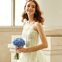 Dress, Wedding dress, Bride, Clothing, Gown, Shoulder, Bridal clothing, Bouquet, Fashion, Flower,