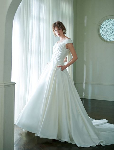 Gown, Wedding dress, Dress, Clothing, Bride, Bridal party dress, Bridal clothing, Shoulder, Photograph, Bridal accessory,