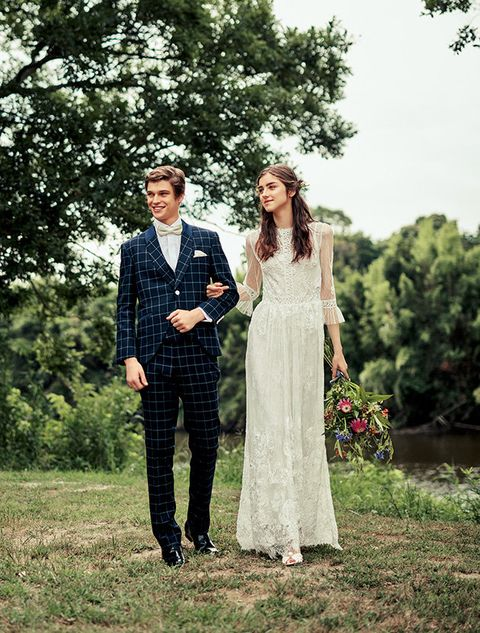 Photograph, Clothing, Dress, Wedding dress, Bride, Formal wear, Yellow, Ceremony, Bridal clothing, Wedding,