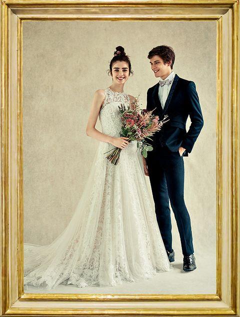 Bride, Wedding dress, Gown, Photograph, Dress, Formal wear, Bridal clothing, Clothing, Suit, Wedding,