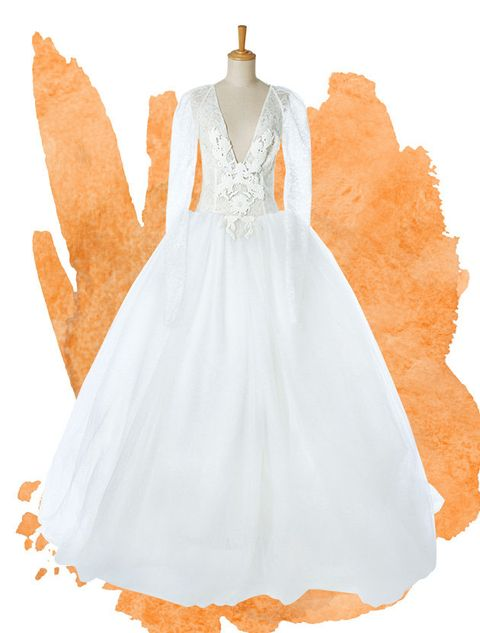White, Clothing, Dress, Day dress, Orange, Gown, Bridal party dress, Fashion, Costume design, Costume,