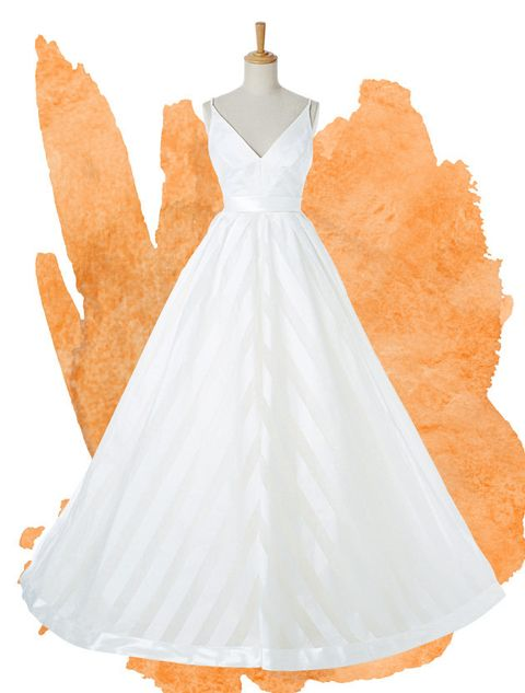 Clothing, Dress, White, Bridal party dress, Gown, Day dress, Orange, Wedding dress, A-line, Bridal clothing,
