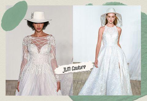 Dress, Gown, Clothing, Wedding dress, Bridal party dress, A-line, Fashion, Neck, Fashion model, Bridal clothing,