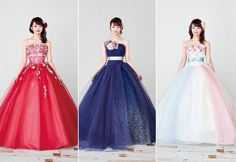 Dress, Gown, Clothing, Shoulder, Formal wear, Pink, Fashion model, Bridal party dress, A-line, Purple,