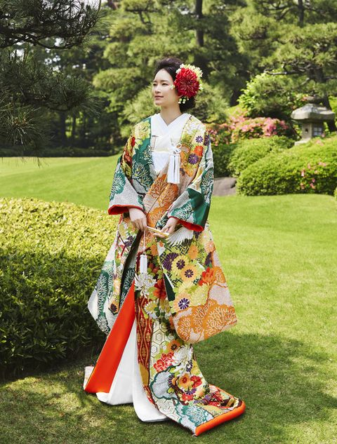 Clothing, Costume, Kimono, Botany, Spring, Lawn, Tradition, Costume design, Dress, Plant,