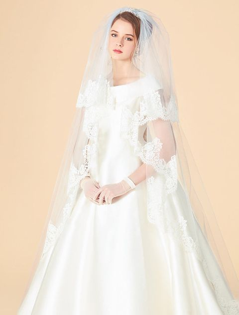 Veil, Bridal accessory, Bridal veil, Dress, Wedding dress, Clothing, Gown, Bride, Shoulder, Bridal clothing,