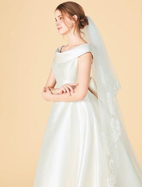 Clothing, Dress, Gown, White, Shoulder, Bridal accessory, Wedding dress, Bridal party dress, Bridal clothing, Veil,