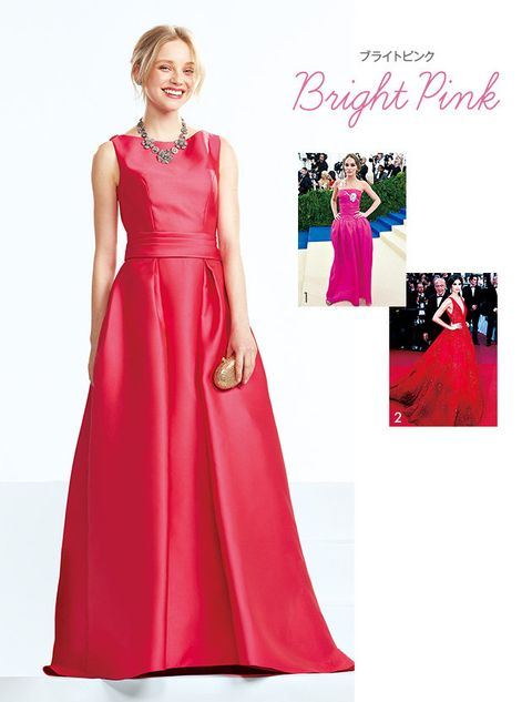 Dress, Clothing, Gown, Bridal party dress, Pink, Formal wear, Fashion model, A-line, Shoulder, Fashion,