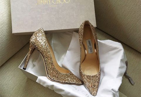 Footwear, High heels, Shoe, Dress shoe, Bridal shoe, Gold, Slingback, Glitter, Court shoe, Basic pump,