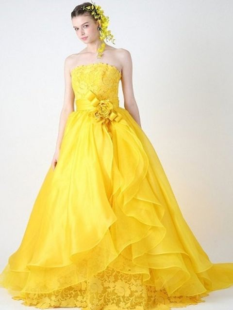 Clothing, Dress, Yellow, Shoulder, Textile, Photograph, Standing, Formal wear, One-piece garment, Gown,