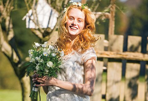 Photograph, Dress, Happy, People in nature, Facial expression, Bouquet, Beauty, Petal, Headpiece, Bride,