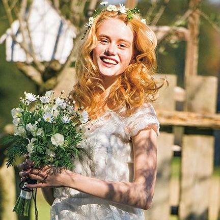 Photograph, Dress, Happy, Facial expression, People in nature, Bouquet, Hair accessory, Headpiece, Beauty, Tiara,