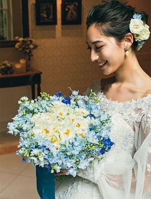 Bouquet, Blue, Flower, White, Flower Arranging, Cut flowers, Floristry, Bride, Plant, Floral design,