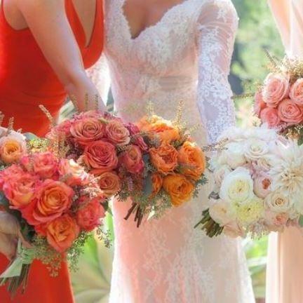 Bouquet, Orange, Flower Arranging, Flower, Peach, Cut flowers, Pink, Floristry, Red, Floral design,