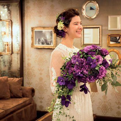 Bouquet, Purple, Flower, Bride, Flower Arranging, Floristry, Dress, Ceremony, Floral design, Plant,