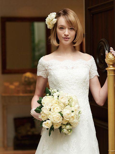 Bride, Wedding dress, Gown, Dress, Hair, Clothing, Photograph, Bridal clothing, Shoulder, Bridal accessory,