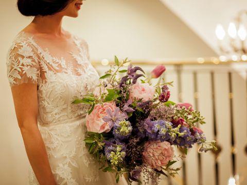 Bouquet, Flower Arranging, Wedding dress, Flower, Floristry, Dress, Floral design, Bride, Gown, Bridal clothing,