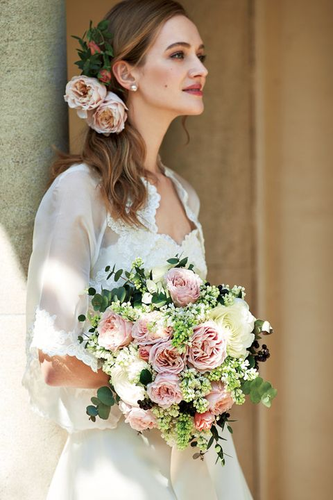 Bride, Bouquet, Hair, Flower Arranging, Photograph, Wedding dress, White, Dress, Floristry, Gown,