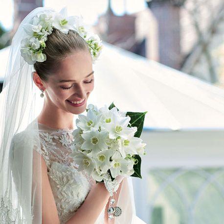 Bride, Photograph, Hair, Wedding dress, White, Dress, Flower Arranging, Gown, Bouquet, Bridal clothing,