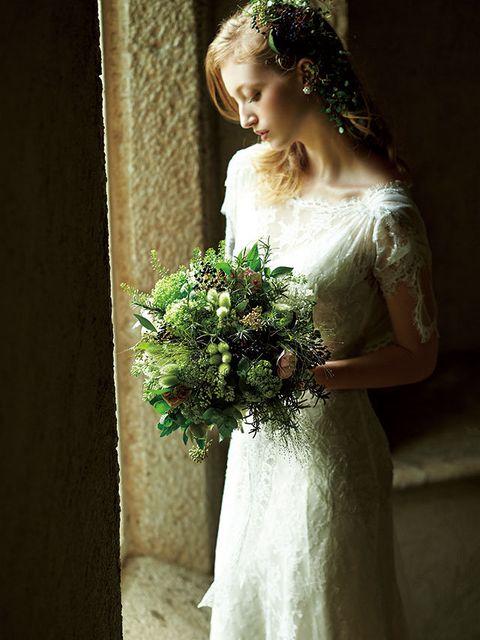 Clothing, Petal, Dress, Bouquet, Shoulder, Bridal clothing, Photograph, Wedding dress, Bridal accessory, Flower,