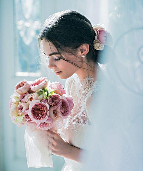 Petal, Skin, Photograph, Flower, Pink, Bouquet, Bridal clothing, Dress, Wedding dress, Bride,