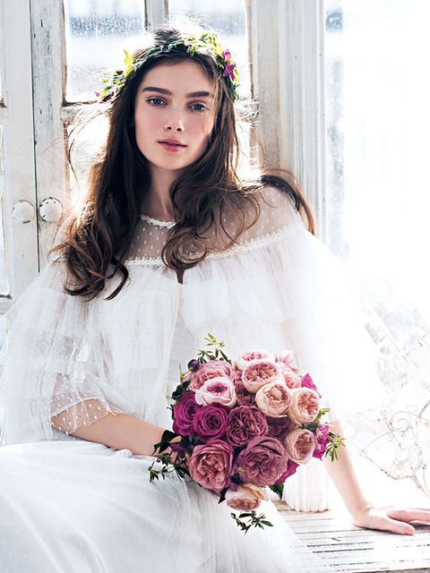 White, Headpiece, Bouquet, Pink, Clothing, Wedding dress, Dress, Bride, Beauty, Flower,