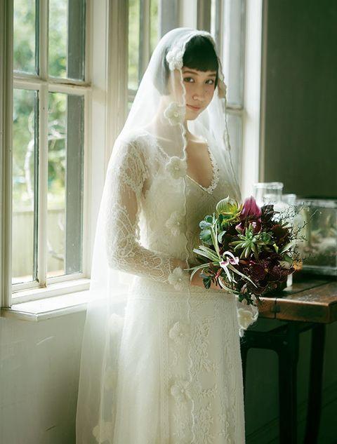 Bride, Veil, Wedding dress, Bridal veil, Gown, Photograph, Dress, Bridal accessory, White, Bridal clothing,