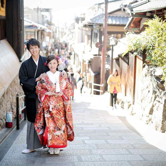 Photograph, Kimono, Snapshot, Town, Street, Infrastructure, Photography, Temple, Costume, Street fashion,