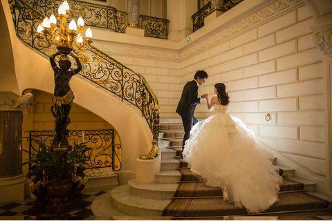 Lighting, Dress, Trousers, Bridal clothing, Shirt, Coat, Wedding dress, Bride, Suit, Formal wear,