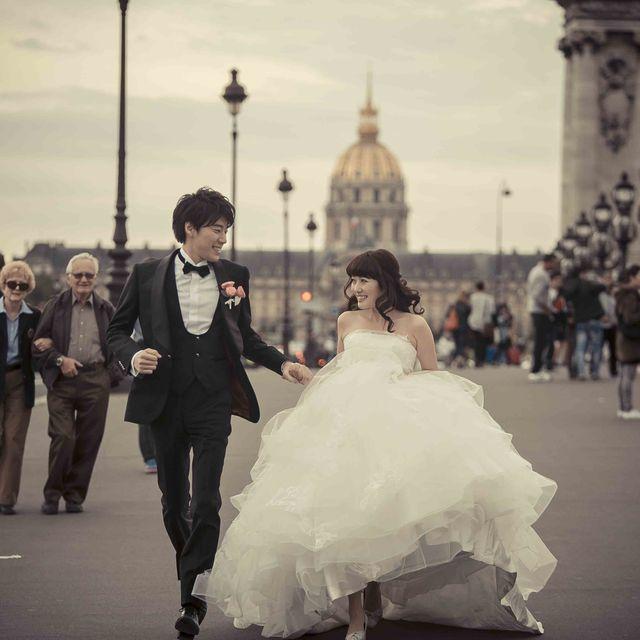 Photograph, Bride, Gown, Wedding dress, Dress, Bridal clothing, Wedding, Ceremony, Marriage, Snapshot,