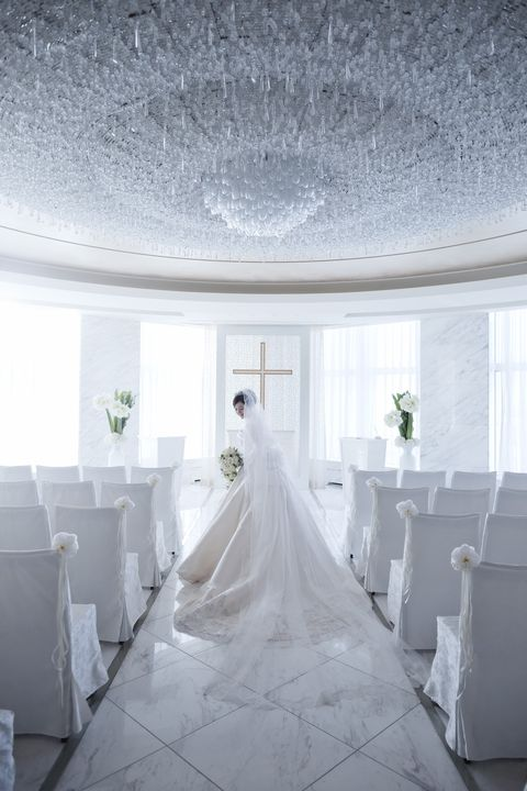 Photograph, White, Dress, Room, Ceiling, Chapel, Gown, Ceremony, Bride, Architecture,