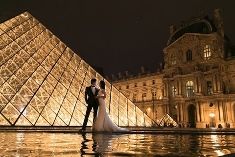 Photograph, Water, Bride, Light, Architecture, Lighting, Dress, Night, Photography, Reflection,