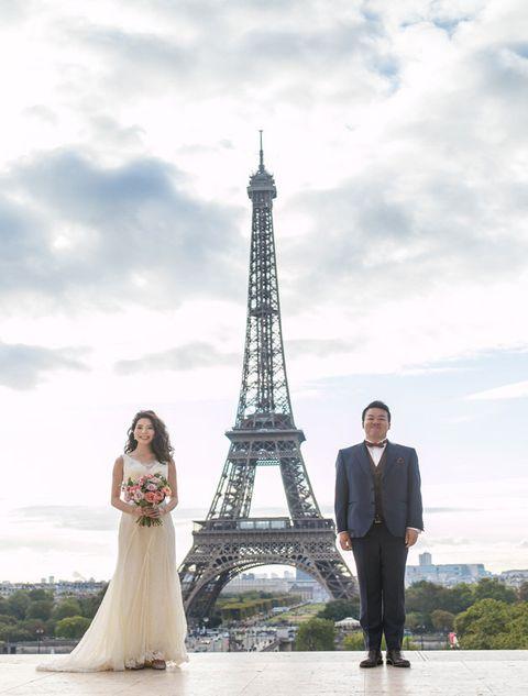 Photograph, Bride, Dress, Wedding dress, Tower, Gown, Bridal clothing, Formal wear, Photography, Wedding,