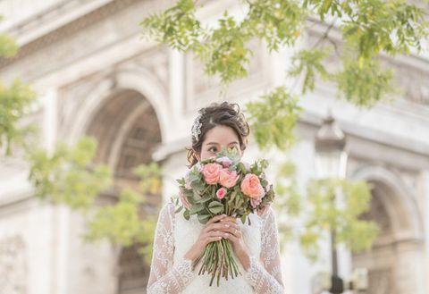 Photograph, Green, Floral design, Yellow, Flower, Dress, Flower Arranging, Bouquet, Bride, Beauty,