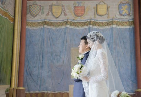 Photograph, Ceremony, Bride, Wedding dress, Wedding, Marriage, Textile, Bridal clothing, Event, Dress,