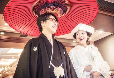 Tradition, Fashion accessory, Fashion, Kimono, Headgear, Smile, Costume, Temple, Ceremony, Hand fan,