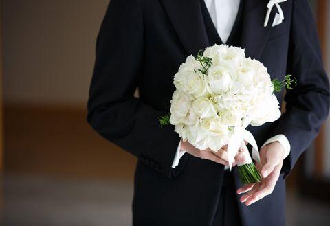 White, Photograph, Bouquet, Suit, Formal wear, Flower, Bride, Floristry, Flower Arranging, Ceremony,