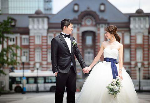Photograph, Gown, Bride, Wedding dress, Dress, Clothing, Bridal clothing, Suit, Ceremony, Wedding,