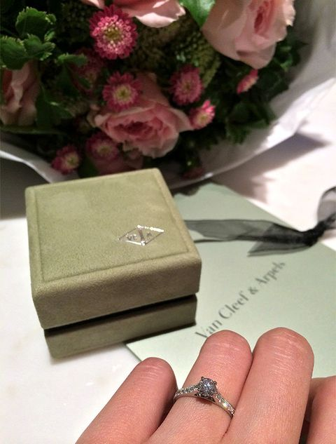 Pink, Ring, Finger, Wedding favors, Fashion accessory, Hand, Box, Engagement ring, Jewellery, Material property,