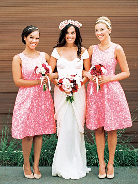 Photograph, Bridal party dress, Dress, Clothing, Bride, Pink, Gown, Bridal clothing, Ceremony, Wedding dress,