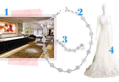 White, Dress, Wedding dress, Gown, Plant, Bride, Bridal clothing, Fashion accessory, Ornament, Formal wear,