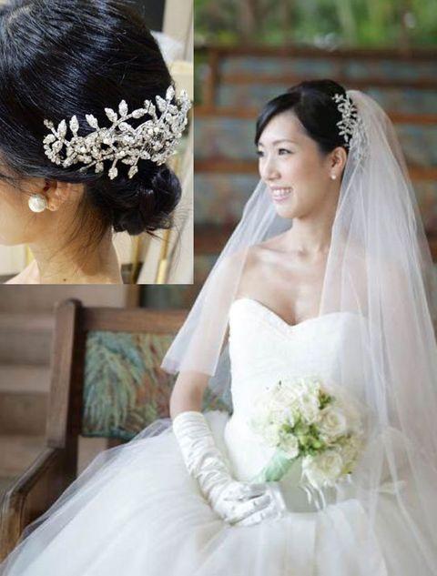 Bride, Veil, Hair, Dress, Headpiece, Hair accessory, Bridal accessory, Gown, Wedding dress, Clothing,