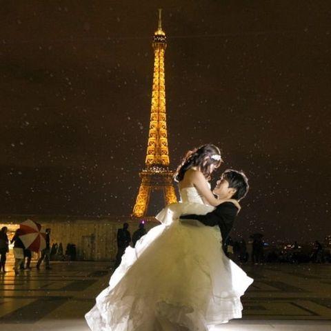 Photograph, Bride, Dress, Wedding dress, Yellow, Wedding, Happy, Bridal clothing, Gown, Ceremony,