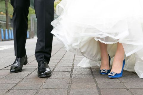 Photograph, White, Dress, Bride, Leg, Footwear, Wedding dress, Snapshot, Wedding, Ceremony,